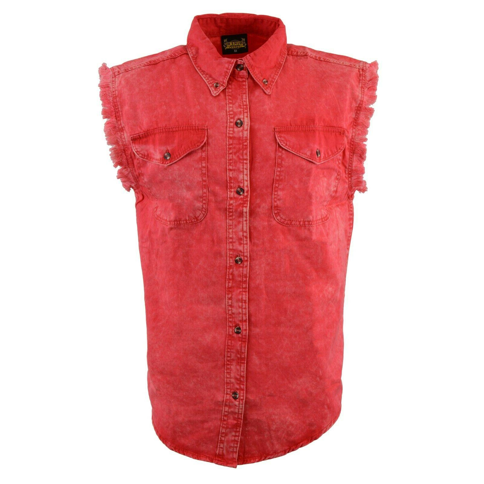 biker clothing mens red and beige sleeveless