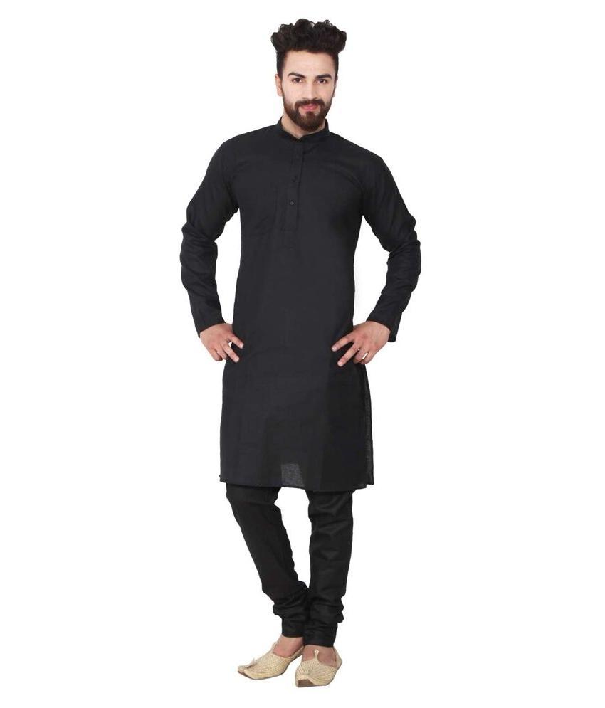 Black Cotton Kurta Pajama For Men Yoga Indian Clothing Ethni