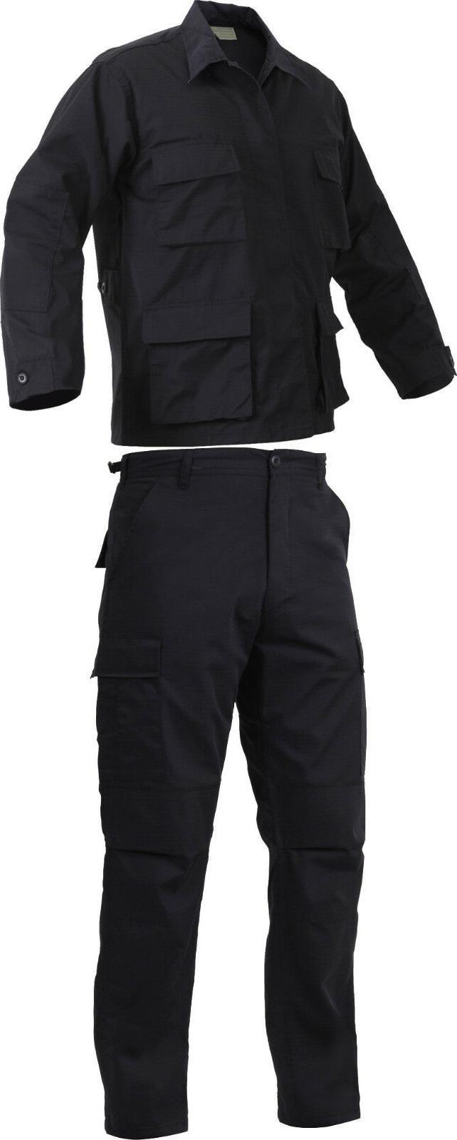 Black Rip-Stop SWAT Cloth Poly-Cotton Cargo BDU Law Enforcem