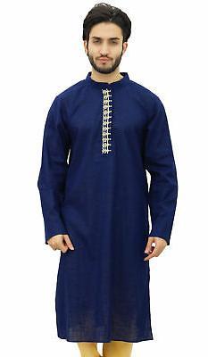blue men s cotton kurta pyjama set