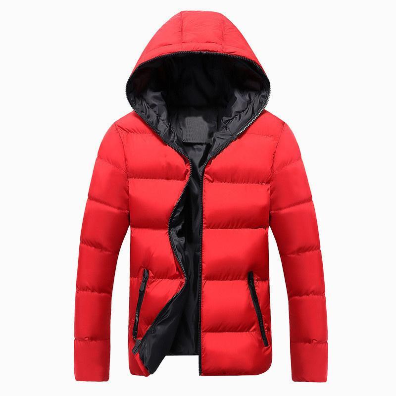 Parkas Coat Casual Fashion Parkas Male Simple Solid Color Hooded Parka <font><b>Jackets</b></font>
