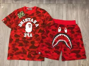 Camo Outfits Bape Tracksuit Shark Face Shorts Ape Head TEE A