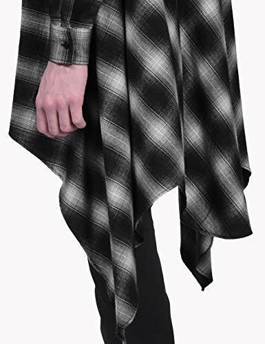COOFANDY Mens Casual Long Sleeves Hipster Hop Long Shirt, Black, X-Large