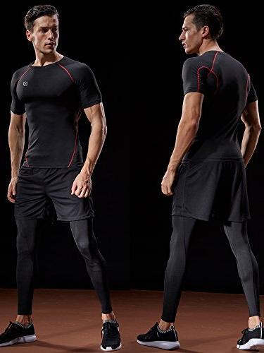 Neleus Athletic Workout Piece,Black,US S,EU
