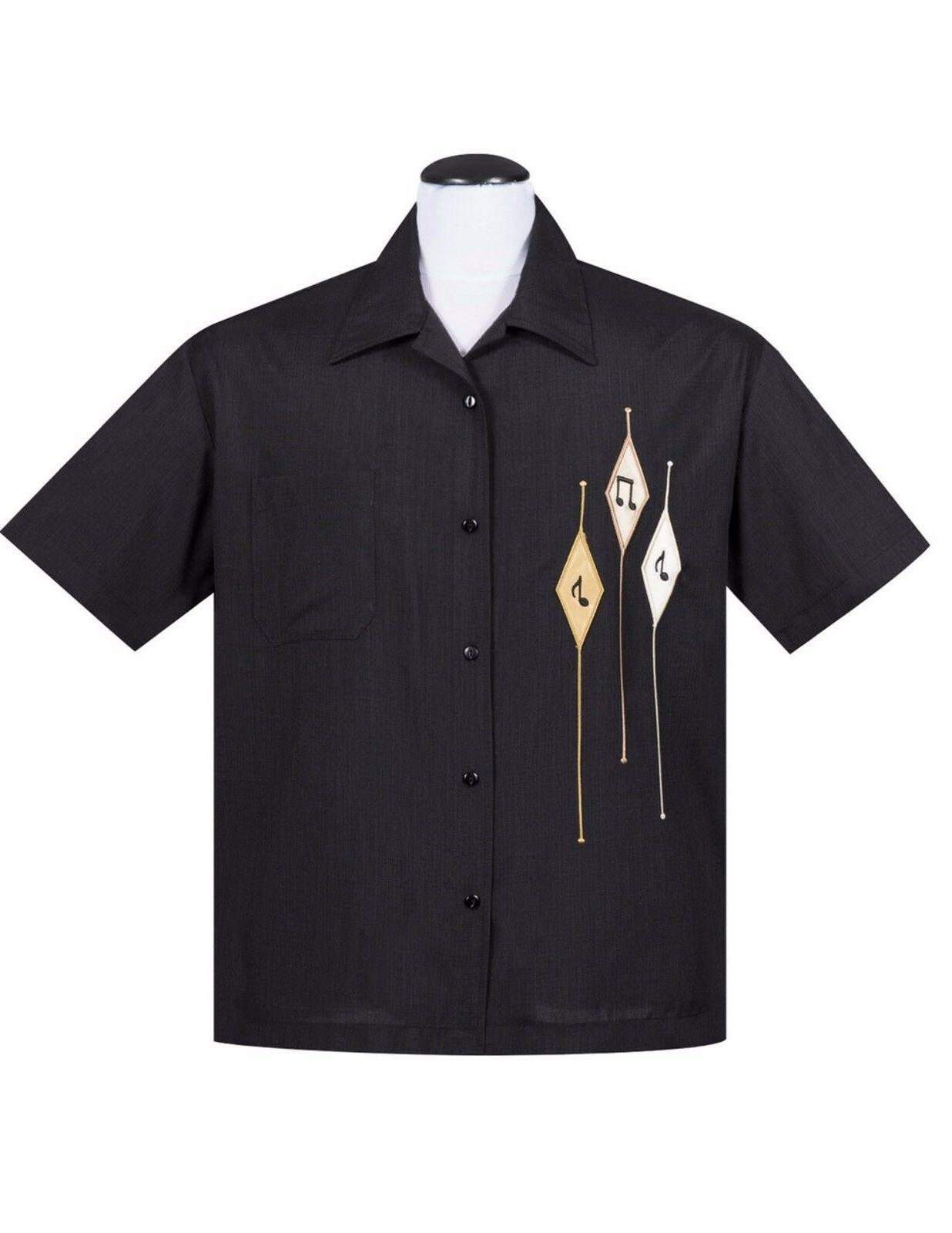 Steady Clothing  Diamond Music Note Black Men's Bowling Shir