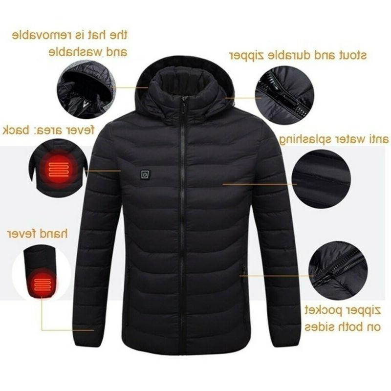 Electric USB Men Women Winter Heated Coat