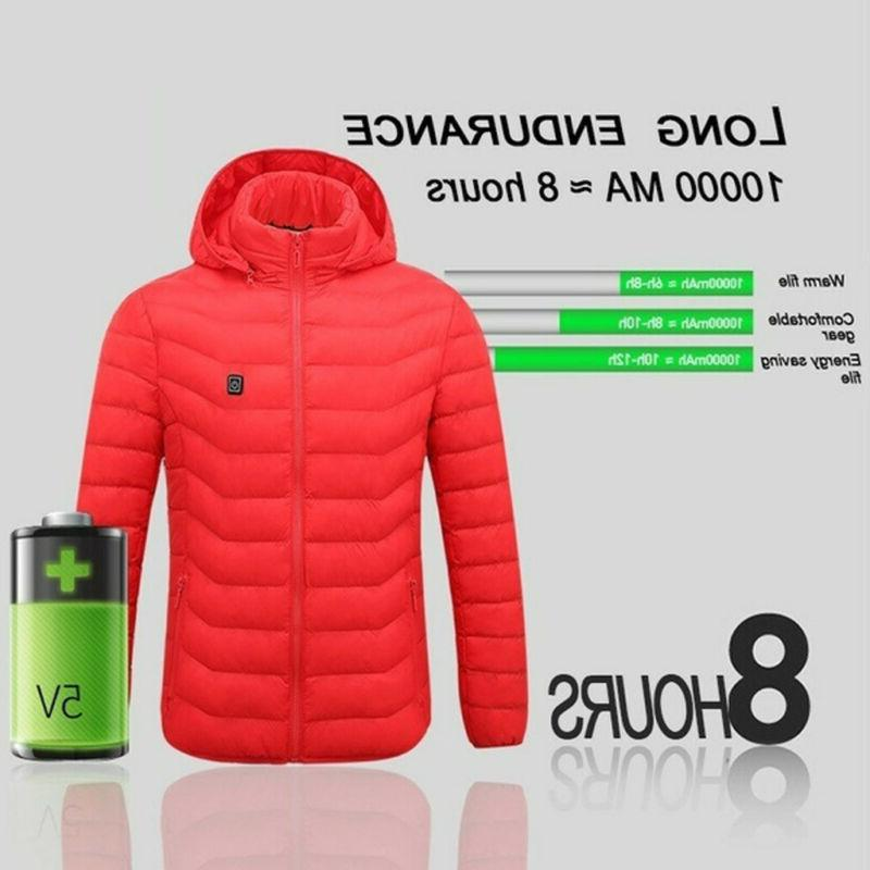 Electric USB Winter Hooded Coat Clothing