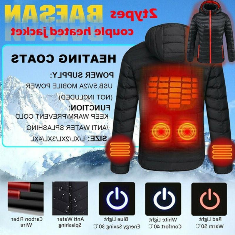 Electric USB Winter Heated Hooded Coat Heating