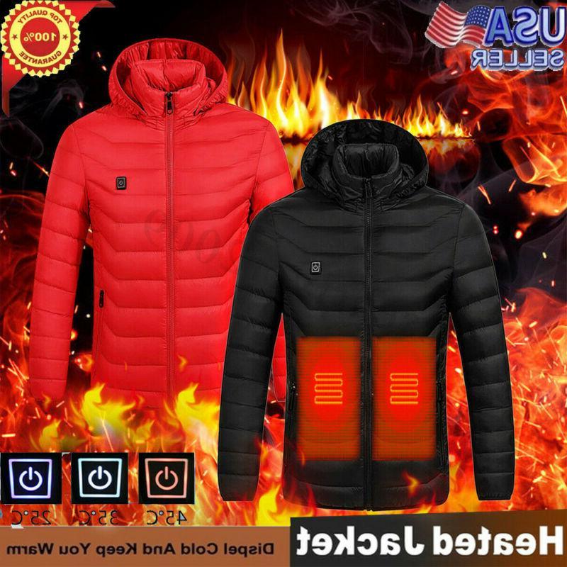electric usb men women winter heated hooded