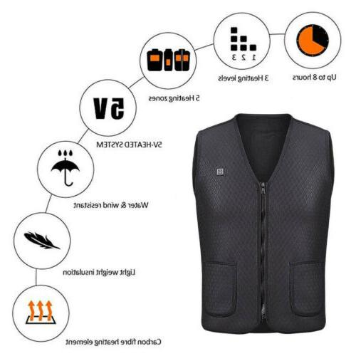 Electric Heated Warm Vest Men Women Heating