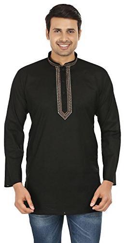 embroidered cotton mens short kurta india fashion