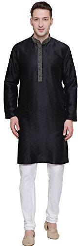 Embroidered Jacquard Silk Mens Kurta Pyjama Indian Clothes
