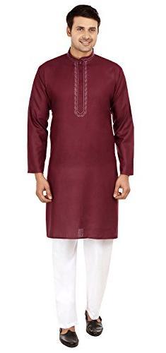 Maple Clothing Embroidered Silk Cotton Mens Kurta Pyjama Ind