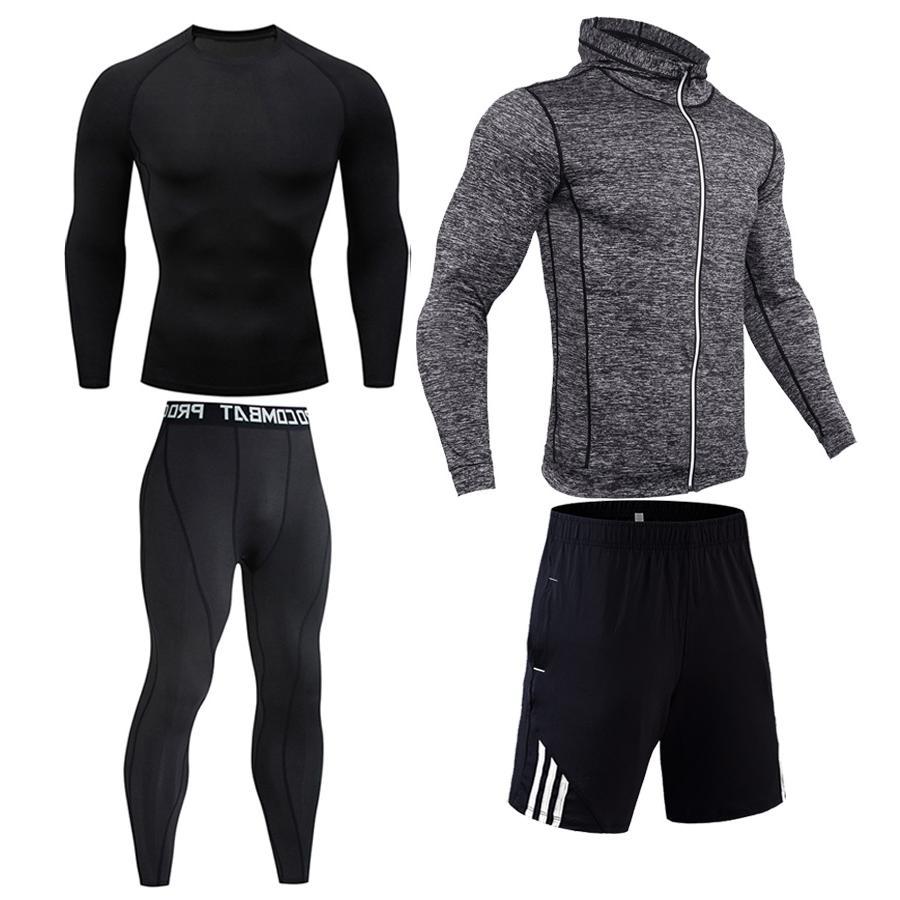 <font><b>Men's</b></font> compression suit Gym <font><b>clothing</b></font> base Sport Fitness training kit