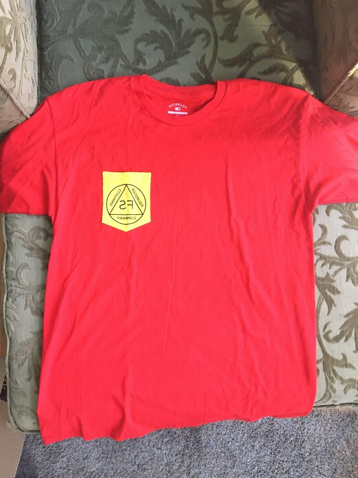 Fourstar Skateboarding Clothing Men's Red T Shirt Pocket Size L New