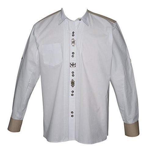 german white lederhosen button down dress shirt