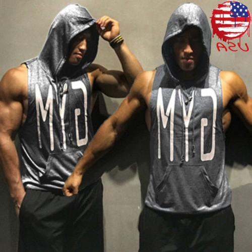 Gym Hot Men Clothing Stringer Hoodie Bodybuilding Tank Top M