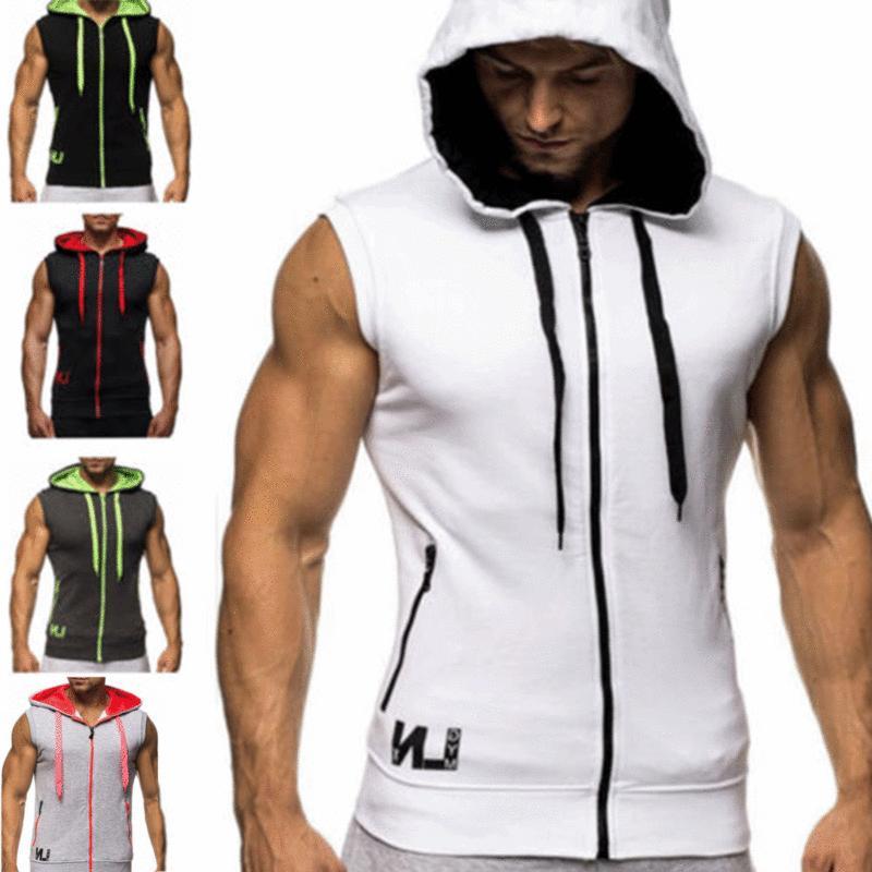 gym men s sleeveless vest bodybuilding hooded