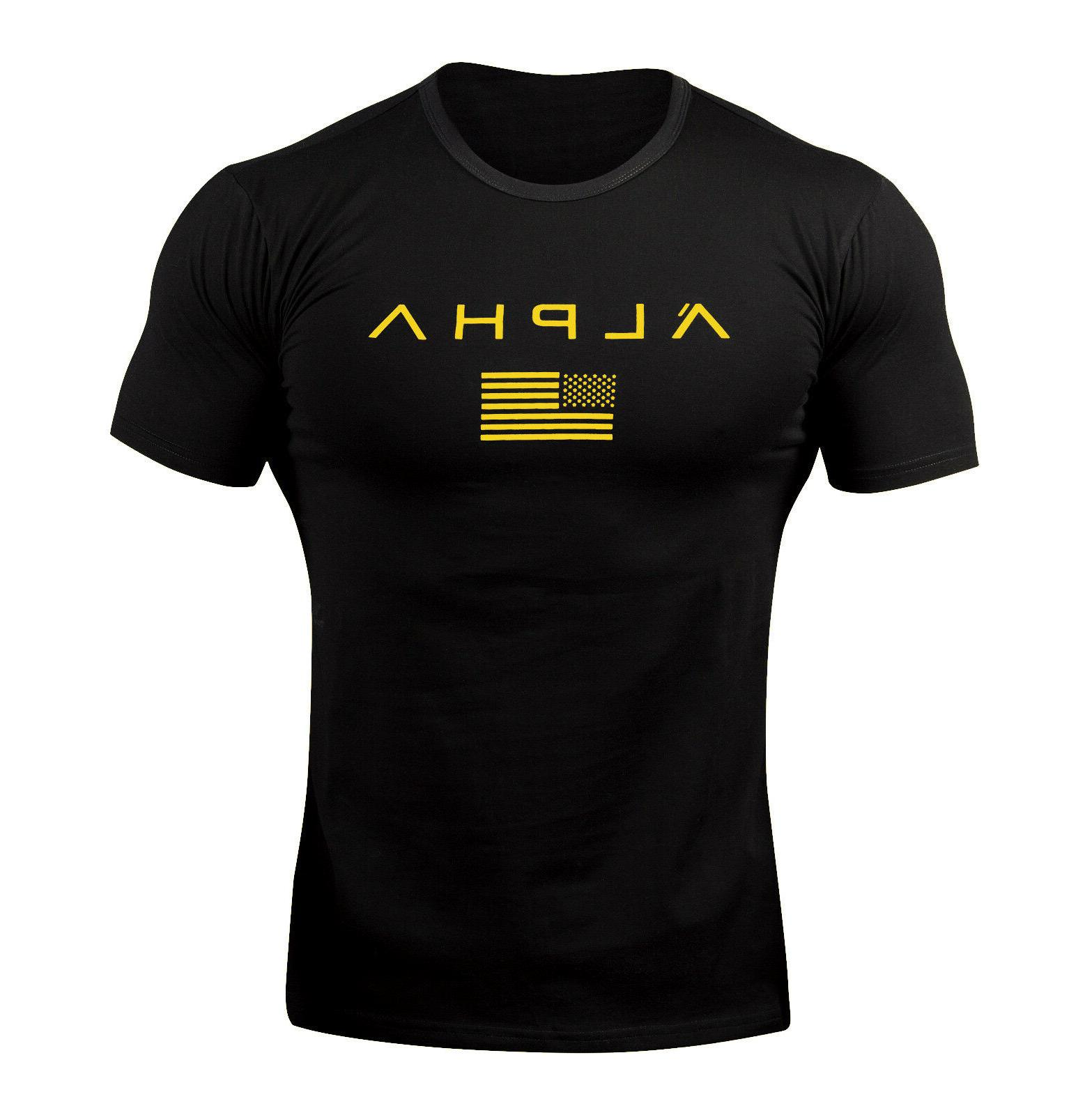 ALPHA Men Muscle Fitness Tee Clothes