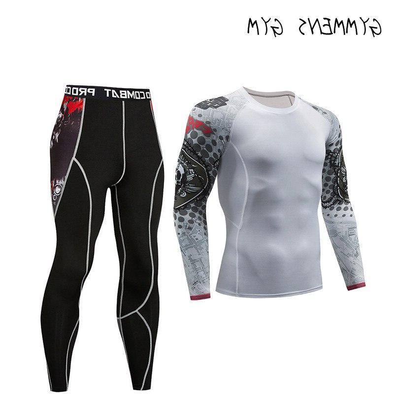 GYMMENS Printed Compression Stockings <font><b>Men</b></font> Fitness Long Sleeve Set <font><b>Cycling</b></font>