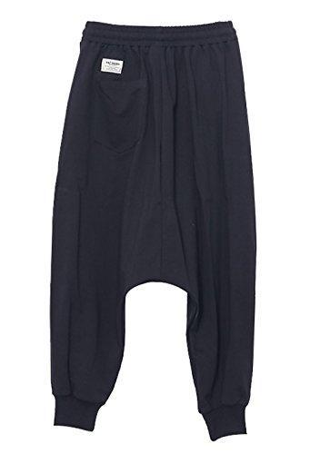 Pants Waist Sweat Baggy Harem Pants Drawstring Black