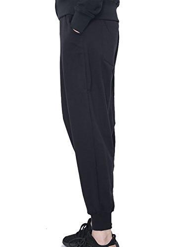 JINXUAN Pants Elastic Waist Sweat Baggy Black XL