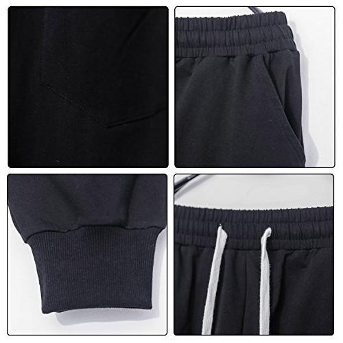 Pants Casual Waist Sport Sweat Pants Baggy Black