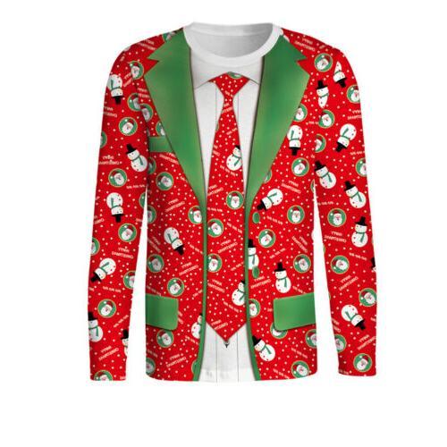 Hot Christmas Men's Shirt Top Clothing 3D O Neck