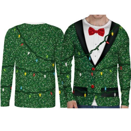 Hot Christmas Cotton Men's Shirt Sleeve Top 3D Print O Neck