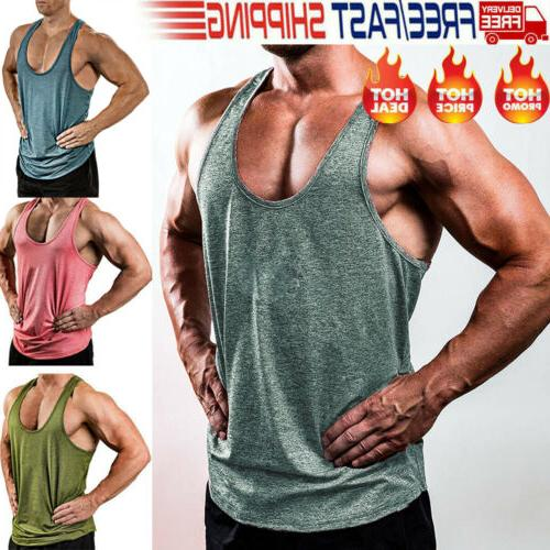 Hot Gym Men Bodybuilding Clothing Stringer Sport US