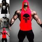 Hot Men Gym Clothing Stringer Hoodie Bodybuilding Tank Top M