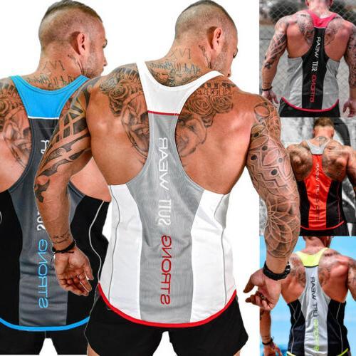 HOT!Men's Stringer Top Gym Workout Clothes
