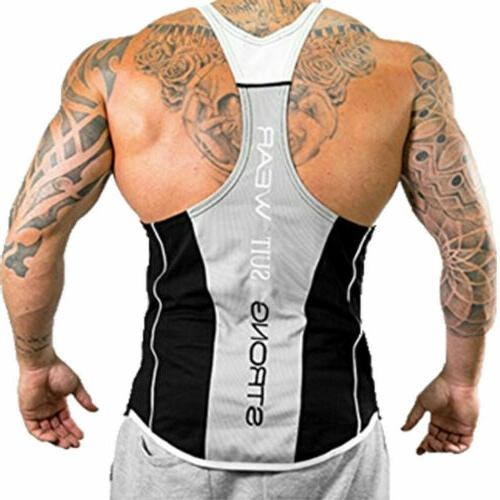 HOT!Men's Bodybuilding Top Y-Back Racerback Gym Workout