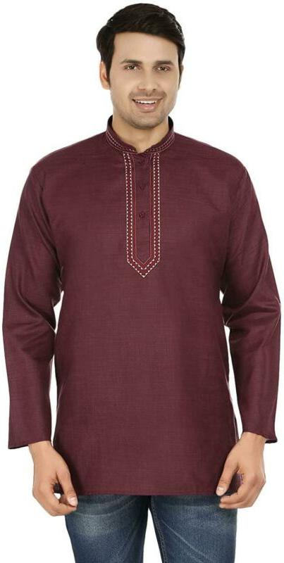 indian clothing fashion shirt embroidered mens short