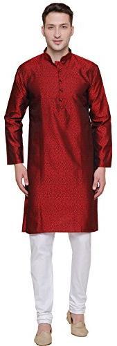 Maple Clothing Jacquard Silk Men's Party Wear Kurta Pyjama I