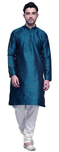 Jacquard Silk Mens Party Wear Kurta Pyjama Indian Clothing