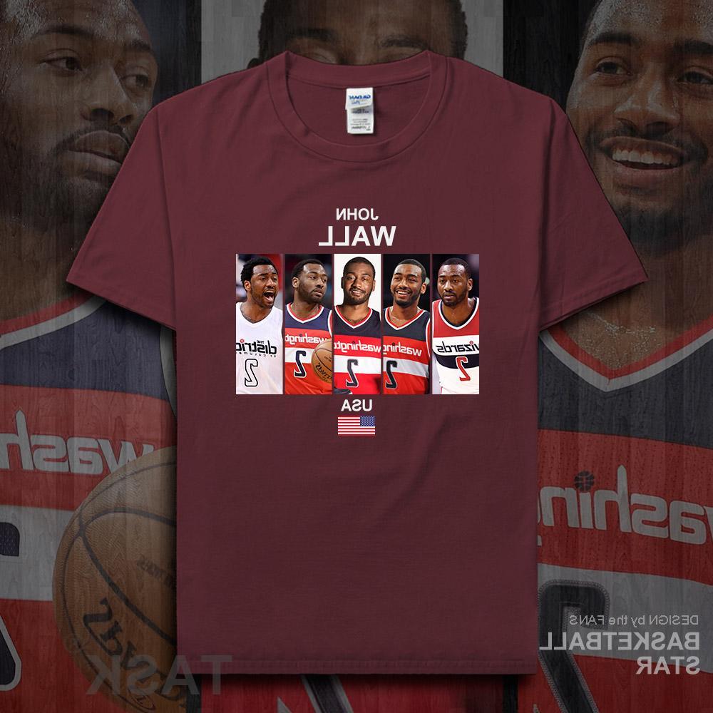 John <font><b>men</b></font> <font><b>jerseys</b></font> Wall Washington <font><b>basketballer</b></font> tshirt cotton fitness the