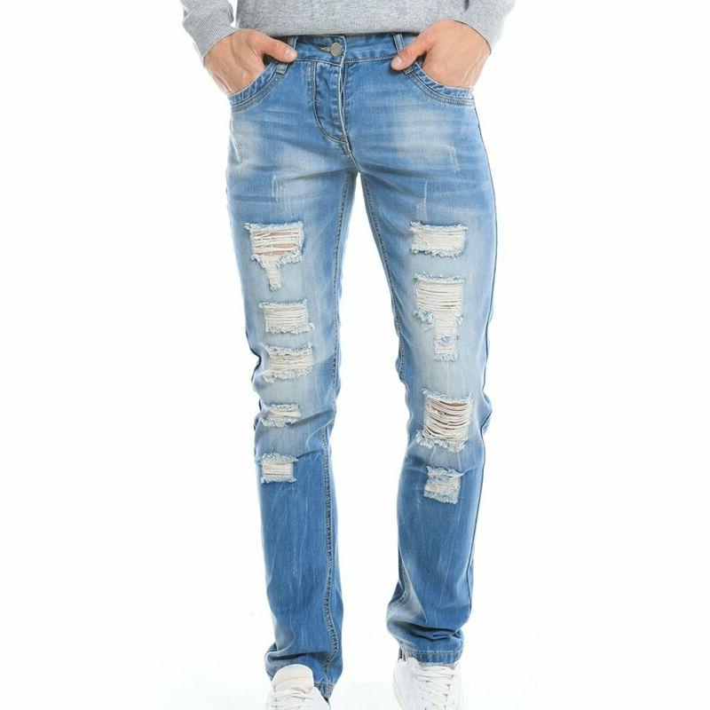Just No Ripped Destroyed Blue Denim Pants