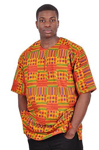 kente african print dashiki shirt small