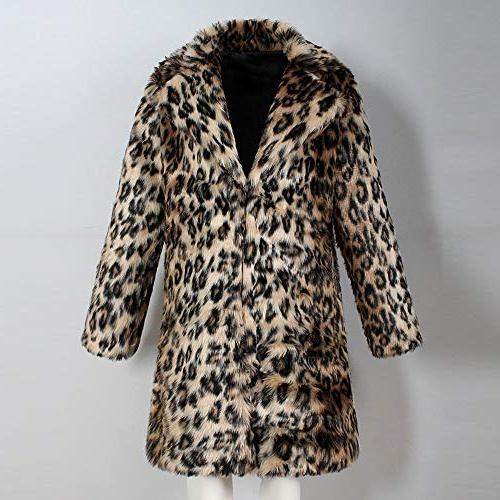 Mens Leopard Coat Faux Thick Collar Jacket Outwear
