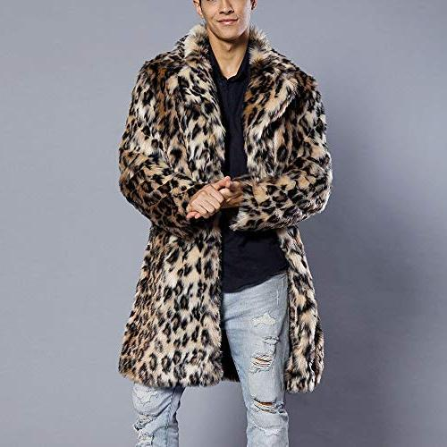 Mens Leopard Faux Thick Collar Jacket Outwear