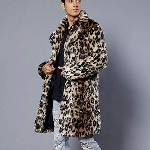 Mens Leopard Faux Thick Jacket Outwear