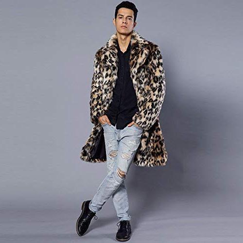 Mens Leopard Coat Thick Coat Jacket