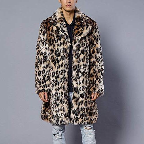 Mens Leopard Faux Warm Thick Jacket