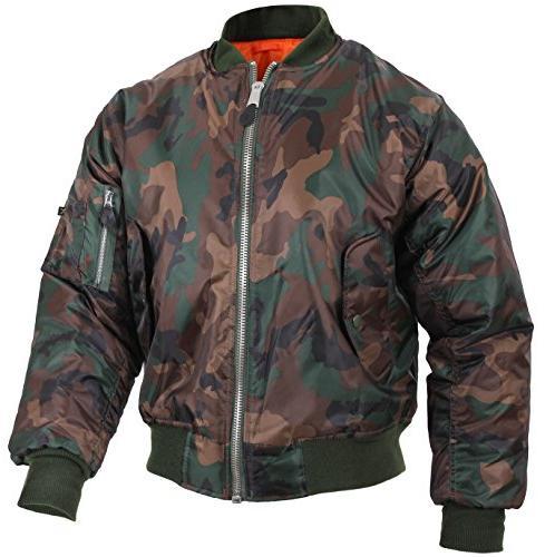 ma 1 flight jacket woodland camo xl