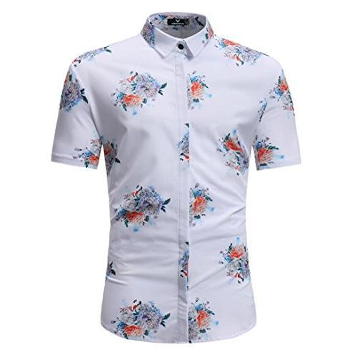 man floral printed shirts fashion casual short