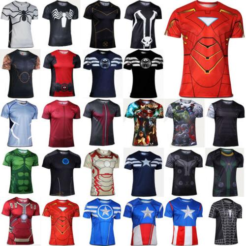 Marvel Superhero Men Short Sleeve T-Shirts Sport Tops Gym Co