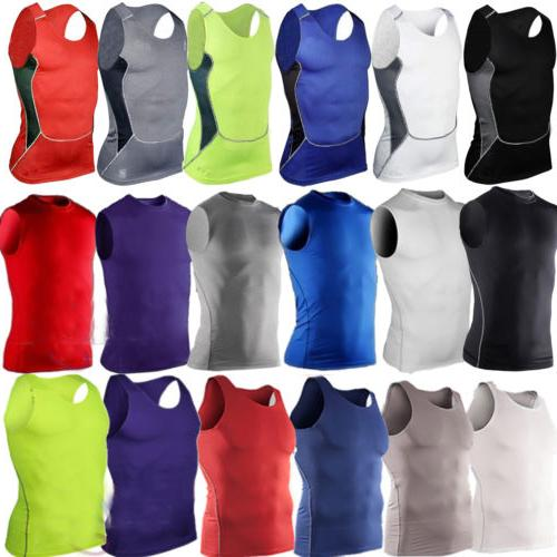 Men Athletic Apparel Compression Sports Tank Vest Shirts Bas
