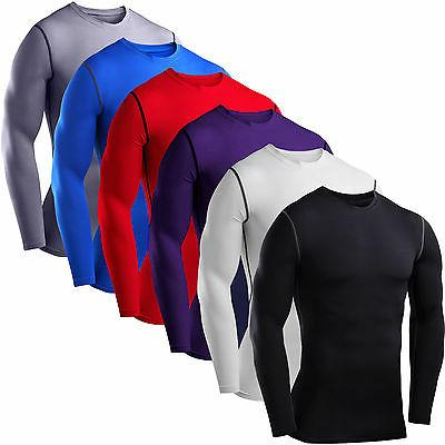 Men Compression Long Sleeve T-Shirt Gym Fitness Training Bas
