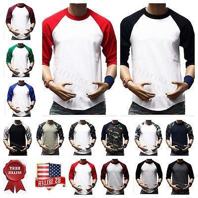 Men's Baseball 3/4 Sleeve T-Shirt Crew Fashion CAMO Sports H